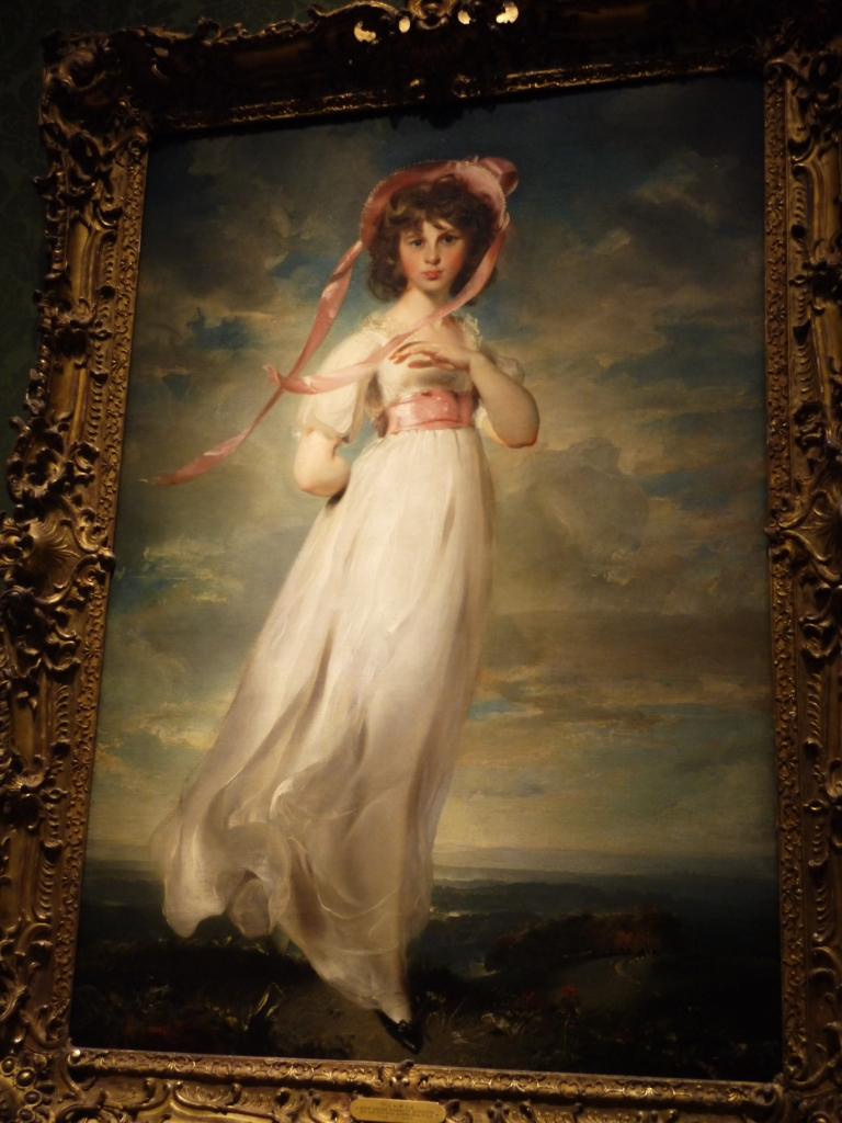 """Pinkie was painted in 1794 by Thomas Lawrence. My wife, the art student, had always thought the painter was the same fellow who limned Blue Boy. Ha! Pinkie was renamed by the Huntington, """"Sarah Barret Moulton: Pinkie"""" after the young lady who posed for this portrait. She died one year later, at the age of 12. Poor Pinkie. And by the way, she never got to meet Blue Boy. Her niece was the poet Elizabeth Barrett Browning."""