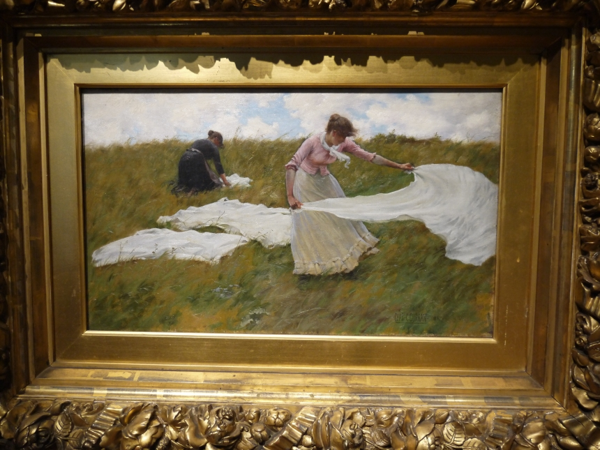"""""""A Breezy Day"""" was painted in 1887 by Charles Courtney Curran. Perhaps not a good day for a picnic, or whatever these ladies are up to."""