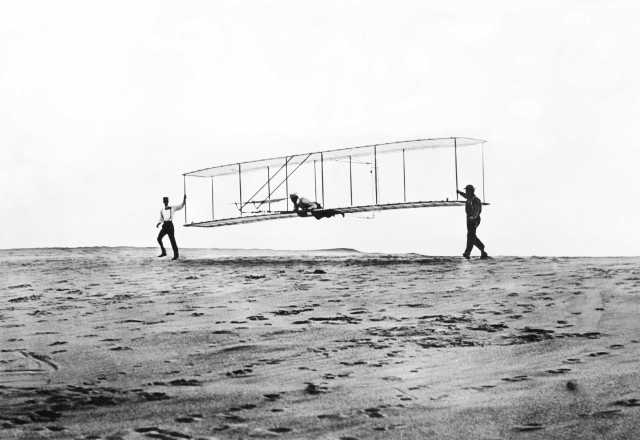 Orville Wright's famous first airplane flight.