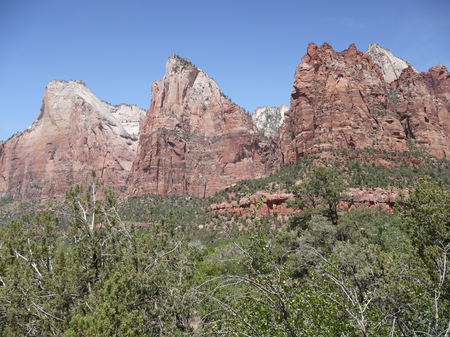 Court of the Patriarchs. From left to right, these peaks are called Abraham, Isaac, and Jacob. They all suffered from kidney stones, and therefore had these rocks named after them.