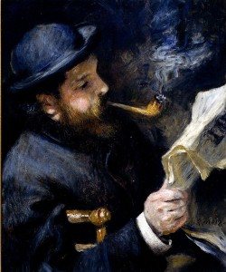 Claude Monet Reading a Newspaper, by Pierre Renoir, 1872.