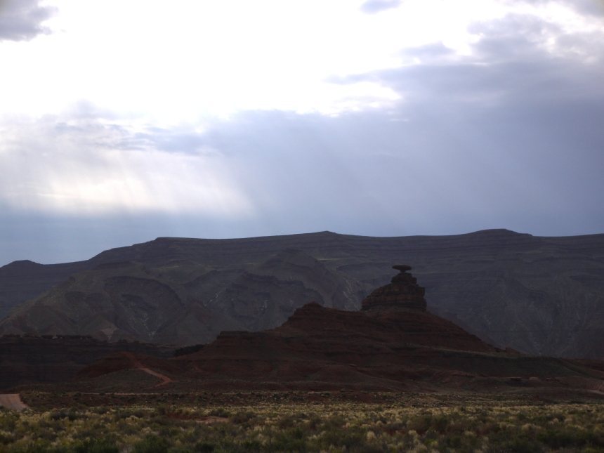 Mexican Hat, at the north entrance to the Navajo Nation.  This geological formation is named after the sombrero of a giant Mexican, who hung his hat here, then forgot to return and retrieve it.