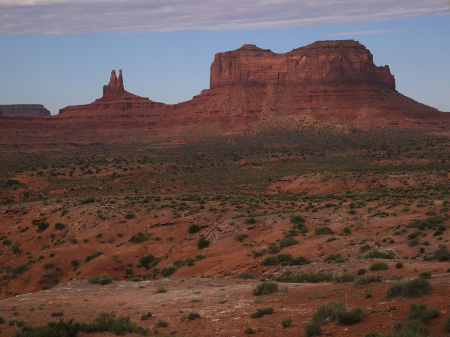A lifetime of watching western movies will familiarize anyone with scenes like this. That's Rabbit Ears on the left. I believe the butte on the right is called the Eastern Mitten.