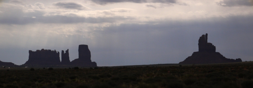 Silhouette of Monument Valley.