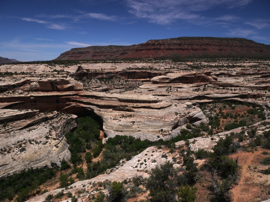 "Kachina Bridge, Natural Bridges National Monument, Utah.  ""Kachina"" is a Hopi word for ""spirit being."" And just like a spirit, it's very hard to see. Look closely at the middle-left of the photo."
