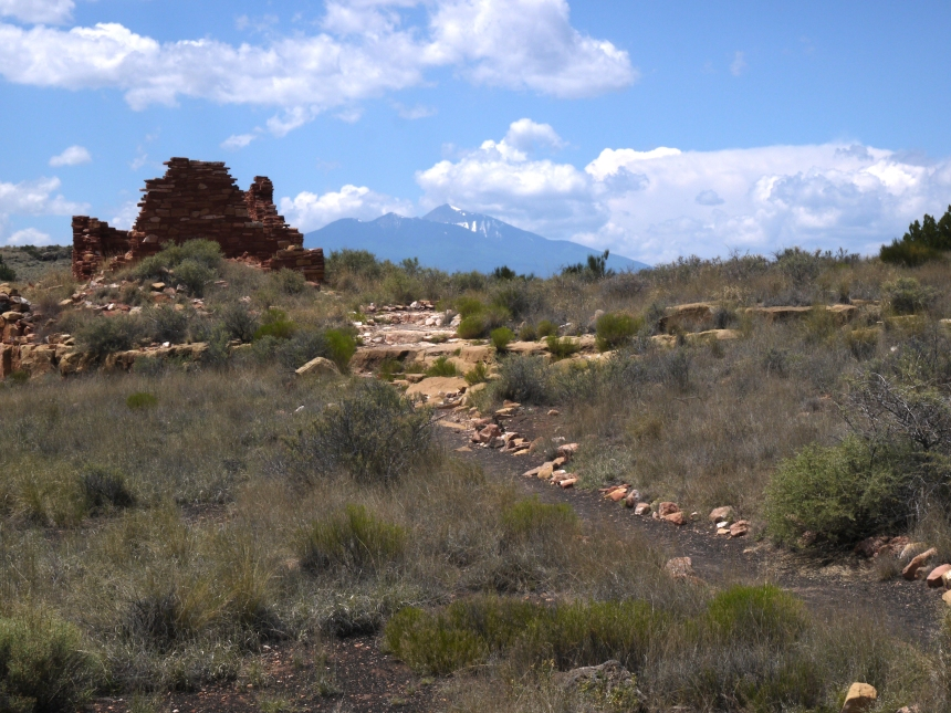 Lomaki Pueblo, with Humphreys Peak looming in the background, Wupatki National Monument, AZ.
