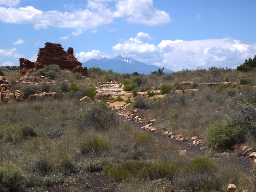 Lomaki Pueblo, with Humphreys Peak looming in the background, Wupatki National Monument, AZ.