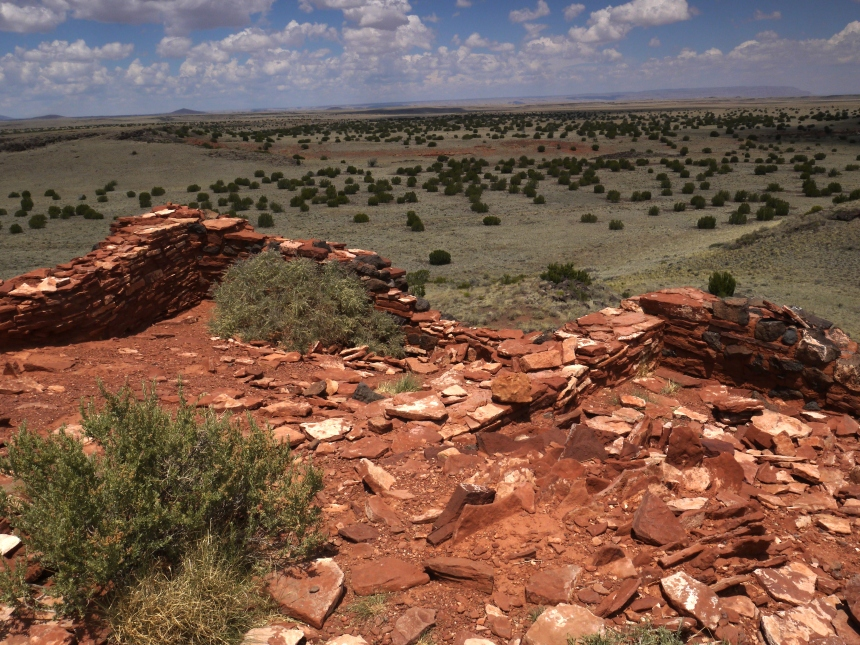 """This pueblo in Wupatki National Monument is known as """"The Citadel"""".  The rich folks who could afford this view would probably have seen far-reaching fields of maize, squash and corn."""