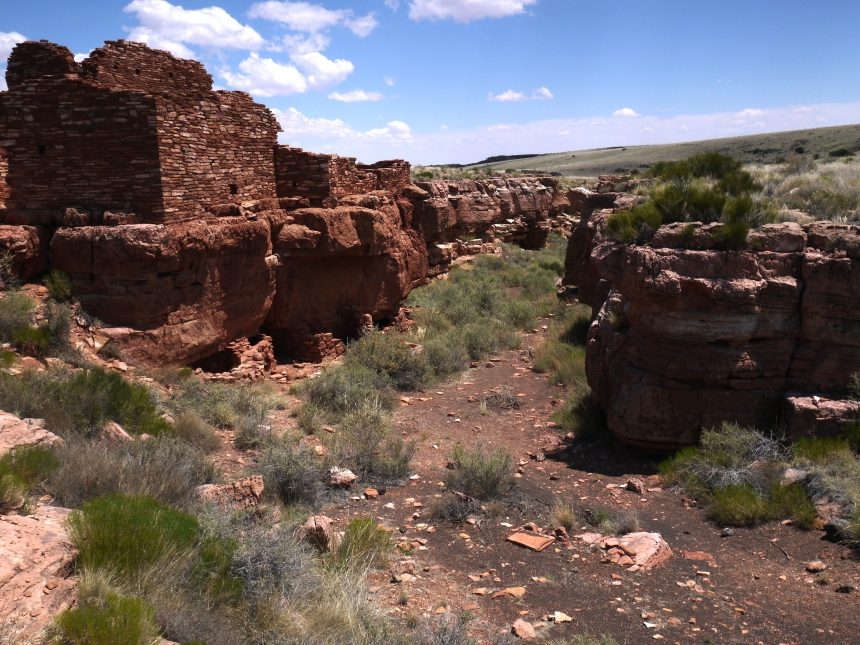 Lomaki Pueblo, Wupatki National Monument, AZ. Crops were often planted in box canyons such as this, which tended to collect more water. The box canyons were actually earth cracks formed by the Sunset Crater volcano.