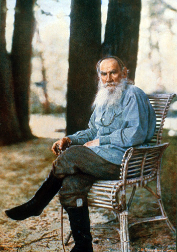 Leo Tolstoy in 1908, age 79. He died in 1910. This is also the first color portrait ever produced in Russia.