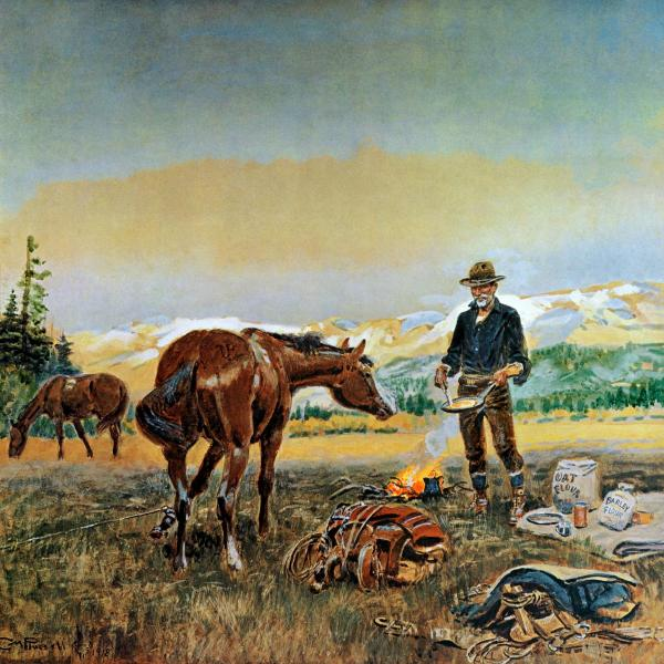 Charles Russell painting of man frying bacon.