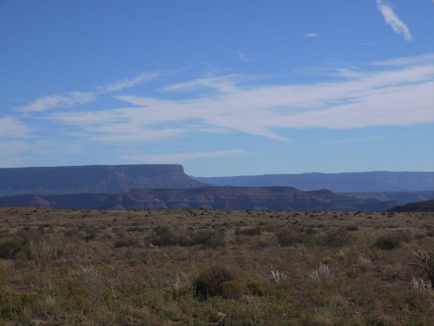 The barely visible rim hinting of the Grand Canyon below, from Hualapai Ranch.