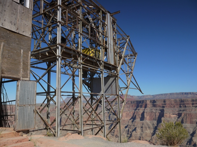 Remains of the guano mine at Guano Point. An Air Force jet put this mine out of commission in 1960, when its tail clipped a cable that spanned the width of the Canyon.