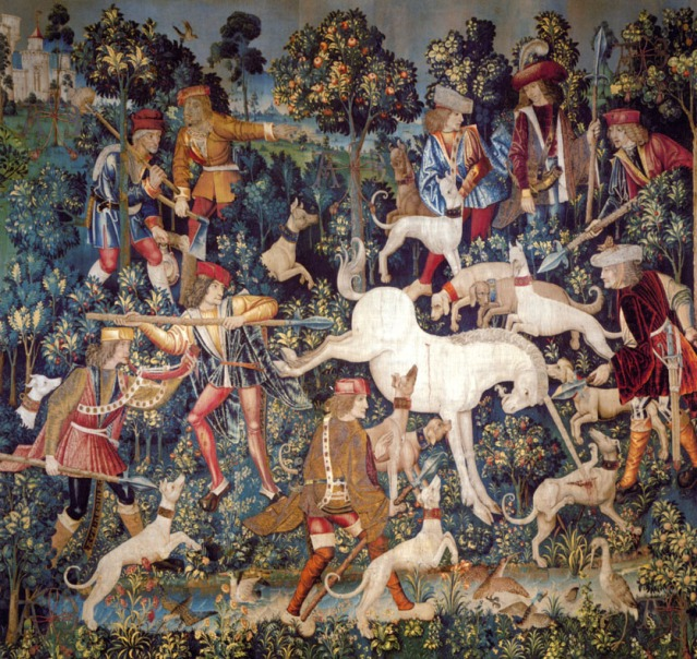 """The Unicorn Defending Himself"". Tapestry, circa 1500."