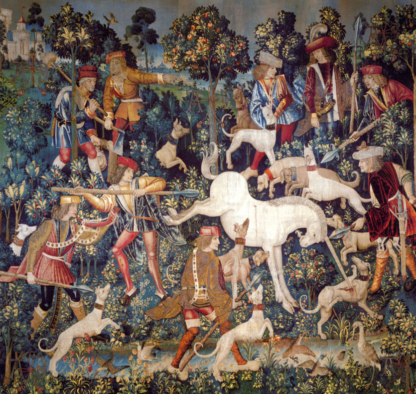 """The Unicorn Defending Himself"". Tapestry, circa 1500."