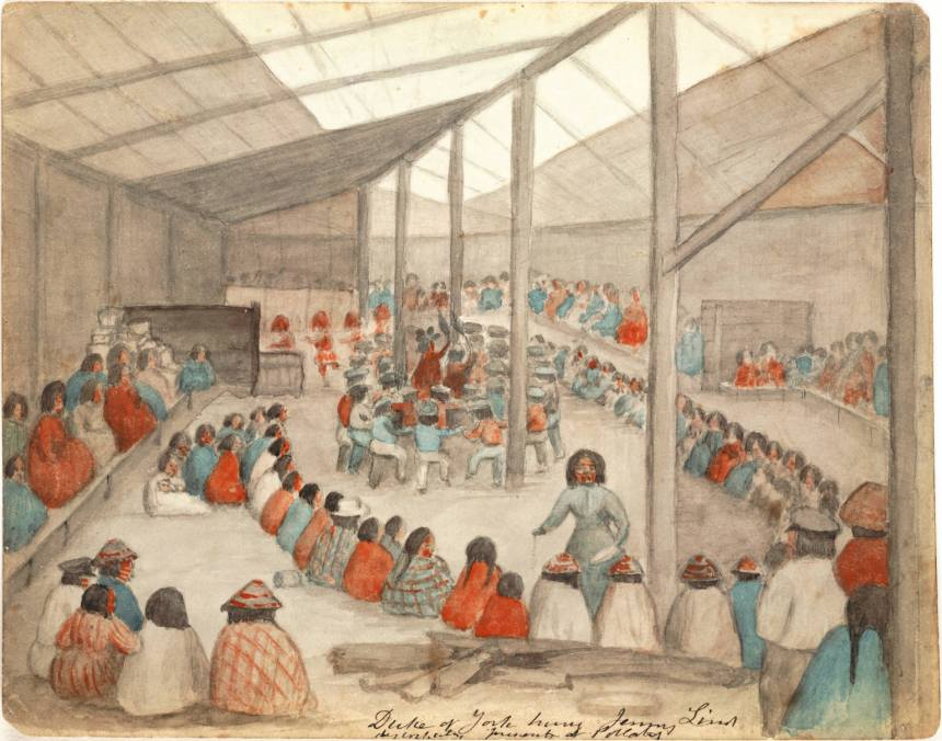 Watercolor by James G. Swan, depicting the Klallam people celebrating a potlatch, in 1859. A potlatch is a feast that involves gift-giving, practiced by Native Americans of the Pacific Northwest.
