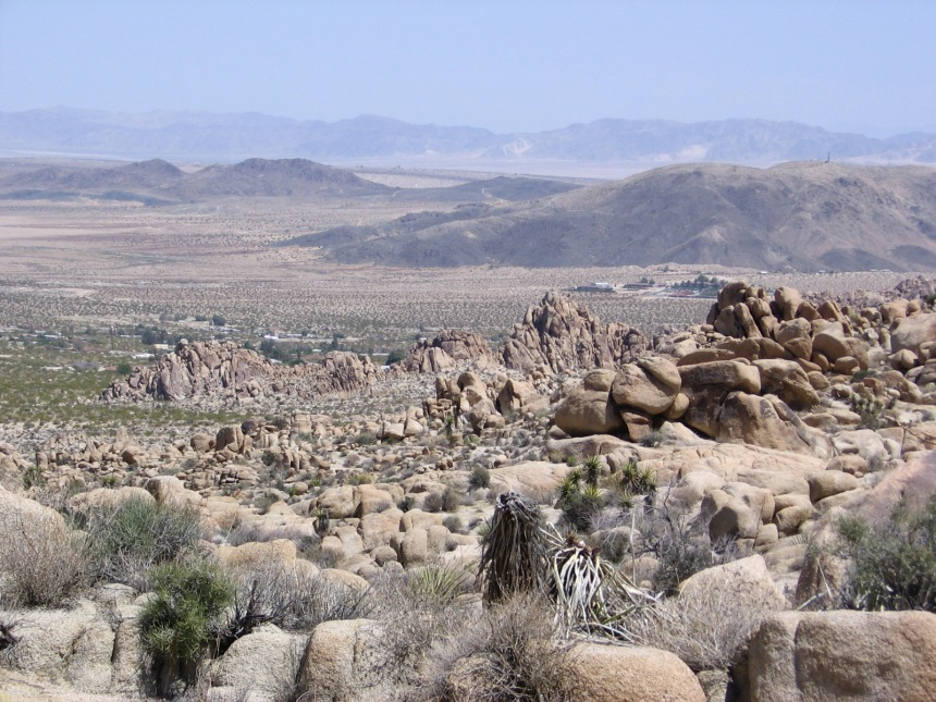 Burro Loop Trail takes hikers close to the town of Joshua Tree. That's Copper Mountain in the distance.