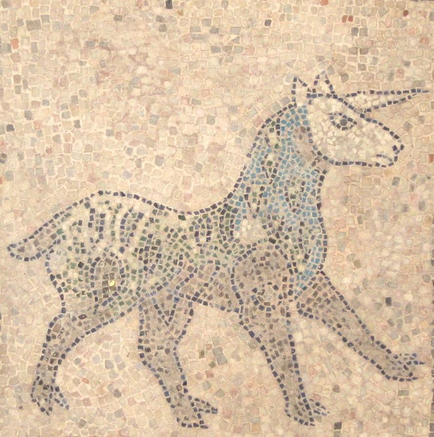 Unicorn mosaic on a 1213 church floor in Ravenna, Italy.